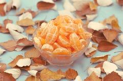 Ciérrese hasta las mandarinas conservadas en cuenco con las hojas Imagen de archivo libre de regalías
