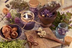 Ciérrese para arriba con el diario, la vela negra, las setas, las hierbas curativas y las flores Foto de archivo