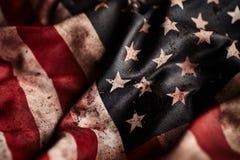 Ciérrese para arriba de bandera americana del grunge foto de archivo
