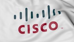 Ciérrese para arriba de bandera que agita con el logotipo de Cisco Systems, representación 3D Fotografía de archivo libre de regalías