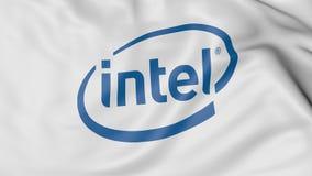 Ciérrese para arriba de bandera que agita con el logotipo de Intel Corporation, representación 3D ilustración del vector