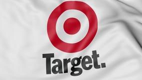 Ciérrese para arriba de bandera que agita con el logotipo de Target Corporation, representación 3D Foto de archivo libre de regalías