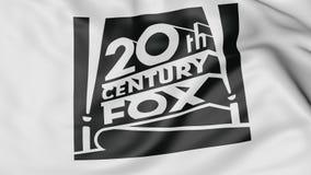 Ciérrese para arriba de bandera que agita con el logotipo del siglo XX de Fox Film Corporation, representación 3D Stock de ilustración