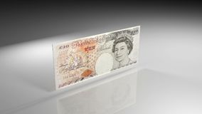 Ciérrese para arriba de billete de banco de la libra británica en la opinión de la rotación stock de ilustración