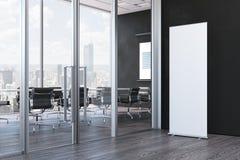 Ciérrese para arriba de blanco en blanco ruedan para arriba en la oficina moderna, representación 3d fotos de archivo