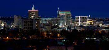 Ciérrese para arriba de Boise Skyline en Idaho en la noche con la Navidad l Imagenes de archivo