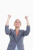Ciérrese para arriba de celebrar al tradeswoman Fotos de archivo