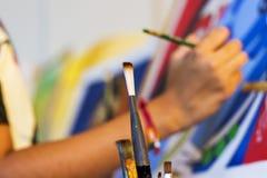 Ciérrese para arriba de cepillo del arte Imágenes de archivo libres de regalías