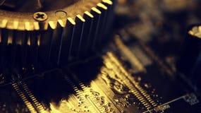 Ciérrese para arriba de circuitos electrónicos en tecnología en Mainboard, cuadro de sistema o mobo Placa madre del ordenador, co fotos de archivo libres de regalías