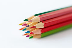 Ciérrese para arriba de creyones o de lápices del color Fotos de archivo