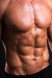 Ciérrese para arriba de cuerpo del sudor del hombre muscular Imágenes de archivo libres de regalías