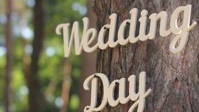 Ciérrese para arriba de día de boda de madera de la inscripción del vintage en el árbol metrajes