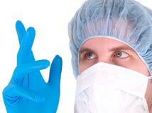 Ciérrese para arriba de doctor con la máscara fotos de archivo