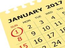 Ciérrese para arriba de enero de 2017 en calendario del diario Imagen de archivo libre de regalías
