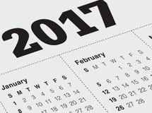 Ciérrese para arriba de enero de 2017 en calendario del diario Fotos de archivo