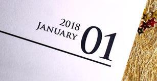 Ciérrese para arriba de enero de 2018 en calendario del diario Fotografía de archivo