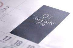 Ciérrese para arriba de enero de 2018 en calendario del diario Imagen de archivo