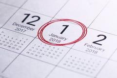 Ciérrese para arriba de enero de 2018 en calendario del diario Fotos de archivo