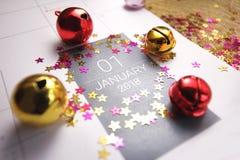 Ciérrese para arriba de enero de 2018 en calendario del diario Fotografía de archivo libre de regalías