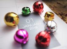 Ciérrese para arriba de enero de 2018 en calendario del diario Imágenes de archivo libres de regalías