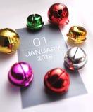 Ciérrese para arriba de enero de 2018 en calendario del diario Fotos de archivo libres de regalías