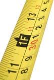 Ciérrese para arriba de escala de la cinta métrica Fotografía de archivo