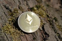 Ciérrese para arriba de ethereum de oro de la moneda en fondo cubierto de musgo de la corteza fotografía de archivo libre de regalías