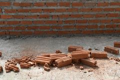 Ciérrese para arriba de fondo del cemento de la pared de ladrillo y del mortero foto de archivo