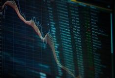 Ciérrese para arriba de gráfico de negocio de las finanzas Datos del mercado de acción Imagen de archivo