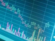 Ciérrese para arriba de gráfico de negocio de las finanzas Datos del mercado de acción Fotografía de archivo