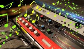 Ciérrese para arriba de la consola de mezcla de la música imagen de archivo