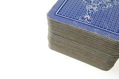 Ciérrese para arriba de la cubierta apilada de tarjetas - cara abajo Foto de archivo libre de regalías