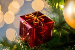 Ciérrese para arriba de la decoración de la caja de regalo en el árbol de navidad Imágenes de archivo libres de regalías