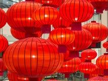 Ciérrese para arriba de la decoración roja china de la linterna de papel Fotografía de archivo