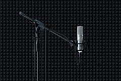 Ciérrese para arriba de la disposición del micrófono aislada en fondo negro representación 3d ilustración del vector