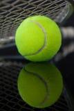 Ciérrese para arriba de la estafa de tenis en bola amarilla fluorescente con la reflexión Imagen de archivo