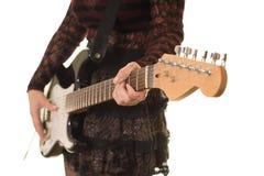 Ciérrese para arriba de la guitarra Foto de archivo