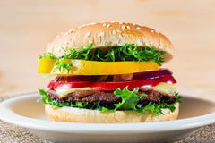 Ciérrese para arriba de la hamburguesa Foto de archivo