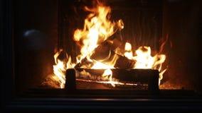 Ciérrese para arriba de la leña que quema en chimenea almacen de video