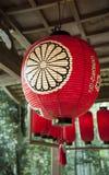 Ciérrese para arriba de la linterna roja japonesa en Sekizan Zen-en, templo japonés en Kyoto Fotos de archivo libres de regalías
