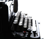 Ciérrese para arriba de la máquina de escribir vieja del vintage aislada Fotografía de archivo