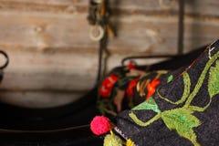 Ciérrese para arriba de la manta bordada del carro del caballo Imagenes de archivo