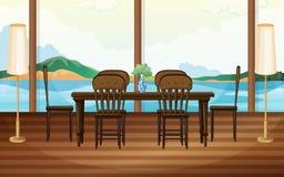 Ciérrese para arriba de la mesa redonda con los vidrios y la cuchillería libre illustration
