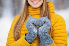 Ciérrese para arriba de la muchacha que muestra un símbolo del corazón por las manos en el invierno Imágenes de archivo libres de regalías