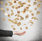 Ciérrese para arriba de la palma abierta y de las monedas de oro del dólar que caen del techo Fotos de archivo