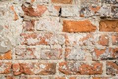 Ciérrese para arriba de la pared de ladrillo vieja Imagenes de archivo