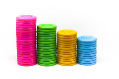 Ciérrese para arriba de la pila de botones de muchos colores Imagen de archivo libre de regalías