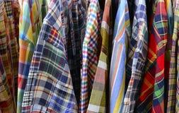 Ciérrese para arriba de la ropa de la tela escocesa Foto de archivo libre de regalías