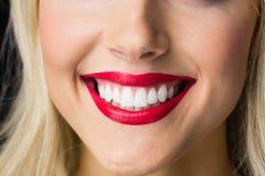 Ciérrese para arriba de labios con maquillaje en ellos Fotografía de archivo libre de regalías