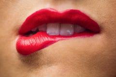 Ciérrese para arriba de labios con maquillaje en ellos Imagen de archivo libre de regalías